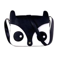 Owl Fox Face Shaped Animal Themed Cross body Shoulder Bag for Women in Black