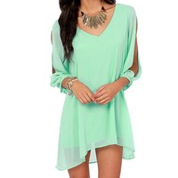 Women Summer Sexy Off Shoulder V-neck A-line Mini Strapless Loose Casual Dress (XL, Green)