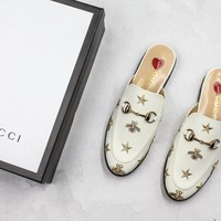 Gucci Princetown Embroidered Leather Slipper - Best Online Sale