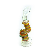 Heavy Glass Bubbler with Rasta Colors - 8 Inches
