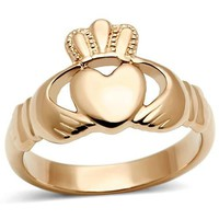 Rose Gold Stainless Steel Irish Claddagh Heart Ring
