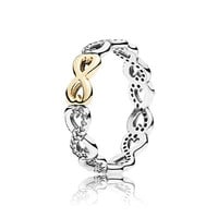 Gold love Rings Compatible with Pandora Jewelry Sparkling bow, clear cz Size #6-10 100% 925 Sterling Silvers European Style