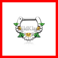 Septum Clicker 16g Daisy Garden Icon 14g Septum Ring Earring Cartilage Piercing Tragus Ring Helix Conch Nose Belly Nipple