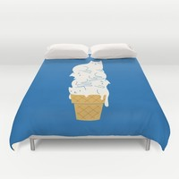 Cats Ice Cream Duvet Cover by I Love Doodle