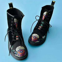 On Sale Hot Deal Winter High Quality Embroider Casual Flat Shoes Anti-skid Boots G-AGG-CZDL