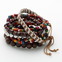 Mudd Silver Tone Wood Bead Stretch Bracelet Set (Brown/Tan/Silver)