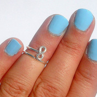 Infinity  4ever LOVE -  Infinity Knot Above Knuckle Ring - Infinity  knot  Ring   - Silver Infinity Wire Wrapped Ring  by Tiny Box -