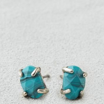 AEO Women's Turquoise Oval Stone Studs (Turquoise)