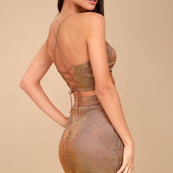 Shimmer and Shake Iridescent Gold Two Piece Dress