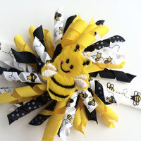 Bumble Bee Headband Photo Prop - Bee Korker Hair Bow for Girls - Yellow and Black Koker Hair Bow - Bee Head Band - Toddler Headband