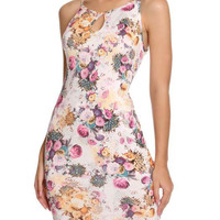 Fashion Flowers Printed Sleeveless Straps Summer Mini Bodycon Dress
