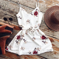 fashion print summer dress Lady Vest slip dresses
