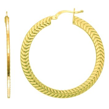14K Yellow Gold Texture Flat Wheat Pattern Hoop Earrings, Diameter 33mm