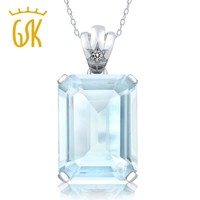 GemStoneKing 15.03 Ct Emerald Cut Natural Sky Blue Topaz White Diamond Pendant 925 Sterling Silver Fine Jewelry For Women