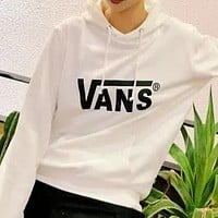 Vans cotton and velvet hoodie White