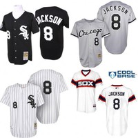 Black white grey Throwback Bo Jackson Authentic Jersey , Men's #8 Mitchell And Ness MLB Chicago White Sox baseball Jersey stitched s-4xl