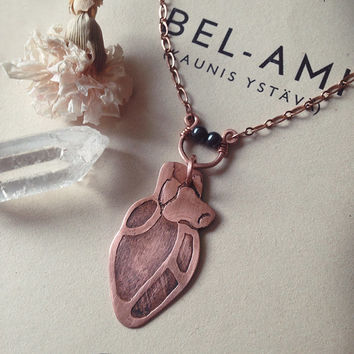 anatomical heart necklace • copper heart pendant necklace - anatomy heart - gothic jewelry - macabre jewelry - witch