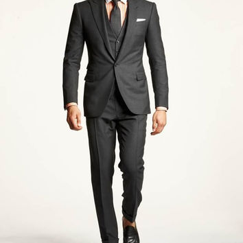 Jacket+Pants Slim Fit Blazer Homme Groom Tuxedos for Men Two Buttons Slit Groomsman/Prom Suits