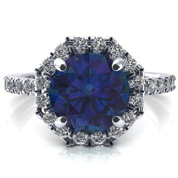 Henrietta Round Alexandrite 4 Prong Halo 3/4 Micropave Engagement Ring