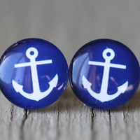 Anchor Studs : Blue and White Nautical Glass Anchor Earrings, Fake Plugs, Beach, Summer, ArtisanTree