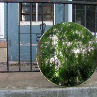 large round antique wall mirror