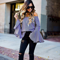 New Women 2017 Summer Sexy Off Shoulder Cotton Tops Flare Sleeve Loose T-Shirt