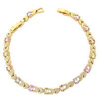 Gold Layered 03.60.0043 Fancy Bracelet, Heart Design, with Multicolor Cubic Zirconia, Diamond Cutting Finish, Golden Tone