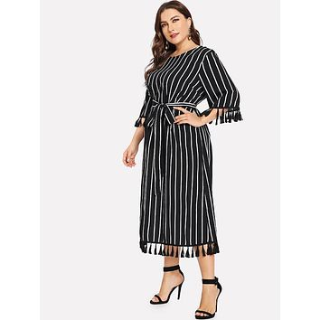 Three Quarter Sleeve Striped Print Boho Beach Dress
