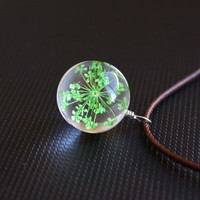 Handmade Real Dry Flower Glass Globe Pendant Necklace. Nature Lover Necklace With Quality Brown Wax Cord. Green Lover Choker Necklace.