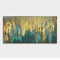 Teal and Gold Woods Wall Art in Black Frame