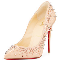 Christian Louboutin Escarpic Spike 100mm Red Sole Pump, Doudou/Gold Rose