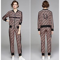 Dior Autumn new stand collar Baseball Jacket two piece Print Leggings