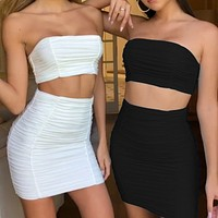 2020 new women's sexy slim vest pleated tube top skirt two-piece suit