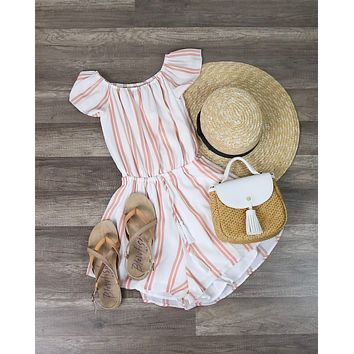 Reverse - Striped Off The Shoulder Romper