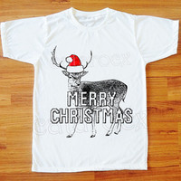Merry Christmas TShirt Reindeer Shirt Animal Tee Shirt Christmas Tee Shirt Women Tee Shirt Men T-Shirt Unisex T-Shirt White T-Shirt S,M,L,XL