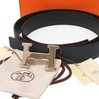 AUTHENTIC HERMES H buckle belt Black/Navy Bock Scarf/Togo 0186