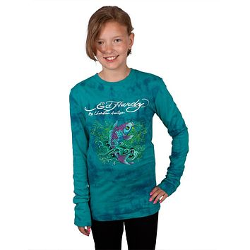 Ed Hardy - Two Koi Fish Swimming Girls Youth Long Sleeve