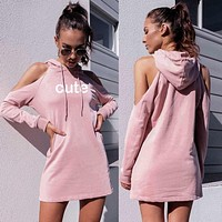 Long-Sleeved Hooded Printed Letters Strapless Dress