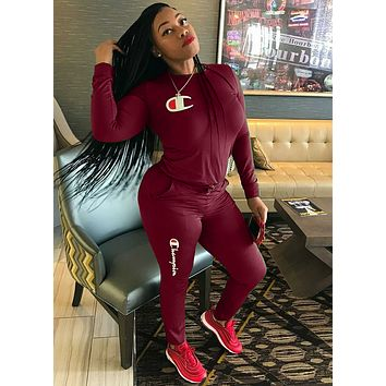 Champion Fashion Women Casual Print Sweater Pants Set Two-Piece Sportswear
