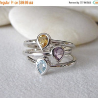 Sale Stack Midi Ring- Gemstone Stack Ring- Mothers Ring- Amethyst Ring- Blue Topaz Ring- Citrine Ring- Birthstone Stack Rings- Rings with St