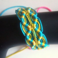 Woven Friendship Bracelet Peruvian Double Zigzag Turquoise And Yellow