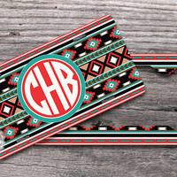 Set of TWO - Tribal Aztec License plate and License Plate Frame, custom name or initials, monogrammed front car tags