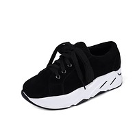 Genuine Leather Platform Wedges Sneakers Shoes for Woman 7154