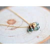 Moss Aquamarine Trio Necklace