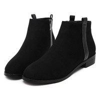Black Suedetted Strap Side Ankle Boots