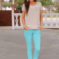 Shelby Lace Tee, Taupe
