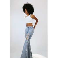 Distressed Frayed Bell Bottom Jeans