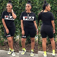 FILA 2020 new women's casual letter printing two-piece set