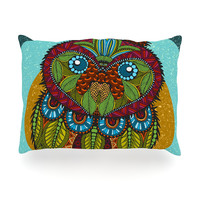 "Art Love Passion ""Owl"" Teal Multicolor Oblong Pillow"