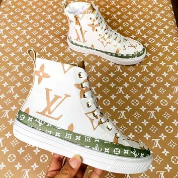 LV high-top letters printed logo sports shoes white